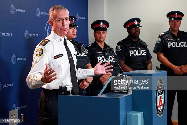 TORONTO ON MAY 15 Toronto Police Staff Superintendent Tom Russell during a press conference introducing new bodyworn police video cameras May 15 2015...