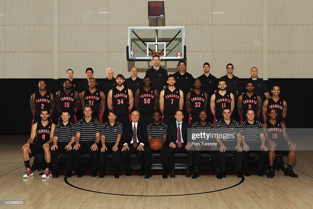 Toronto Raptors 2011-2012 Team and Traveling Staff poses for a team photo taken on March 27, 2012 at the Air Canada Centre in Toronto, Ontario, Canada.