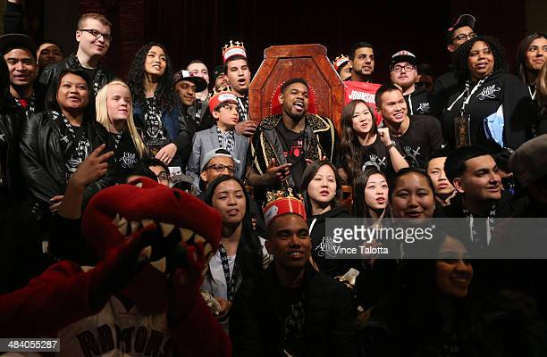 Toronto Raptors Amir Johnson sitting on the throne holds a party at Medieval Times to thank his fans this year in Toronto on April 10 2014
