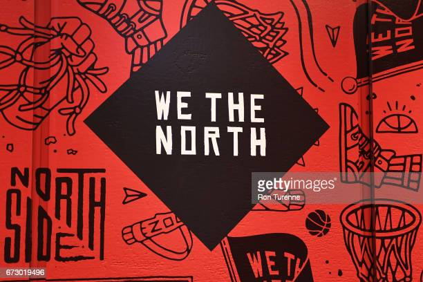 Toronto Raptors banner is seen before Game Five of the Eastern Conference Quarterfinals during the 2017 NBA Playoffs on April 24 2017 at the Air...