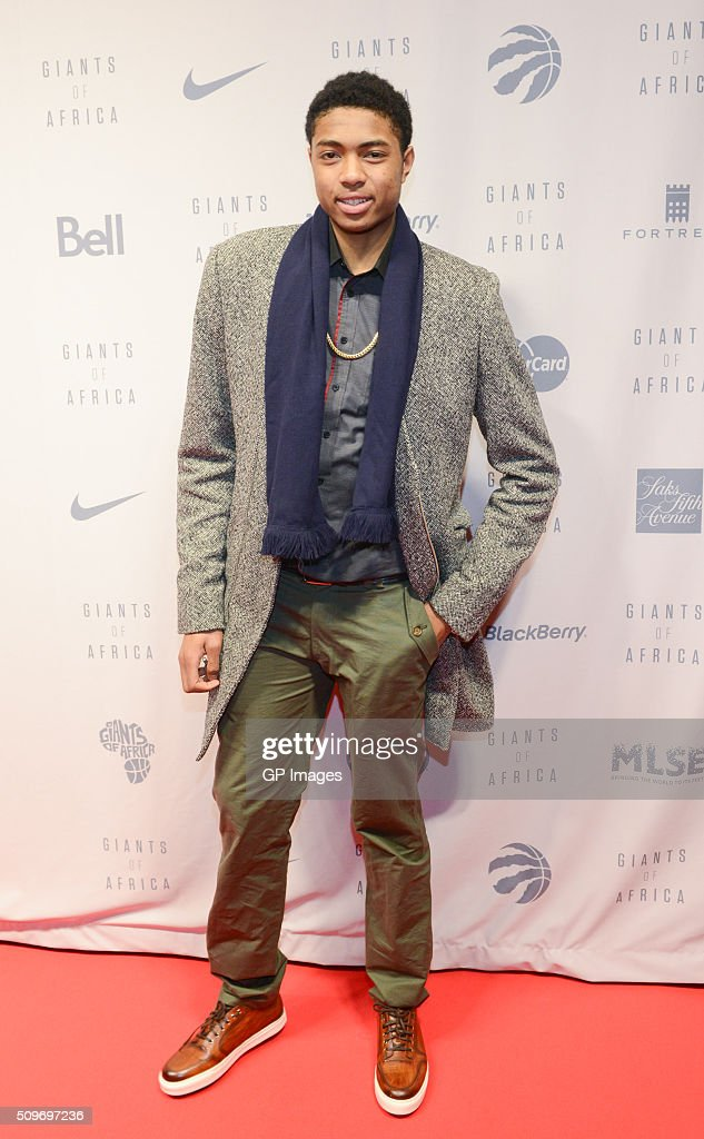Toronto Raptors <a gi-track='captionPersonalityLinkClicked' href=/galleries/search?phrase=Bruno+Caboclo&family=editorial&specificpeople=12933791 ng-click='$event.stopPropagation()'>Bruno Caboclo</a> attend 'Giants of Africa' screening at TIFF Bell Lightbox on February 11, 2016 in Toronto, Canada.