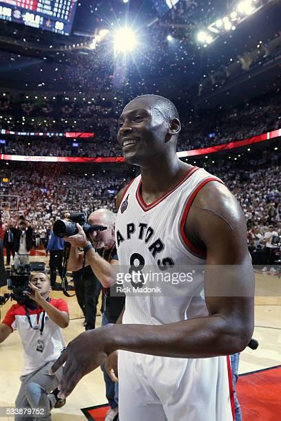 Toronto Raptors center Bismack Biyombo after the final buzzer Toronto Raptors vs Cleveland Cavaliers in 2nd half action of Game 4 of Eastern...