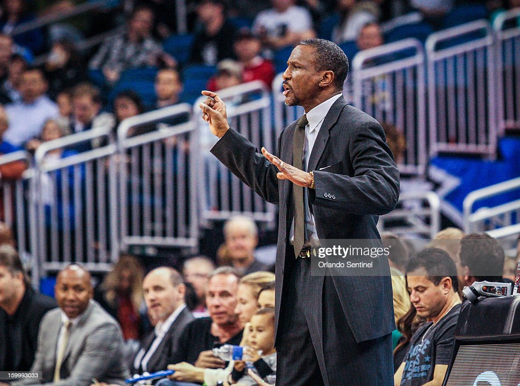 Toronto Raptors coach Dwane Casey reacts during second-quarter action against the Orlando Magic at Amway Center in Orlando, Florida, Thursday, January 24, 2013.