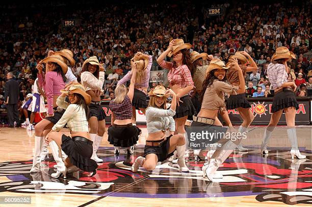 Toronto Raptors Dance Pack do a country diddy during a game between the Toronto Raptors and the New Jersey Nets on November 4 2005 at the Air Canada...