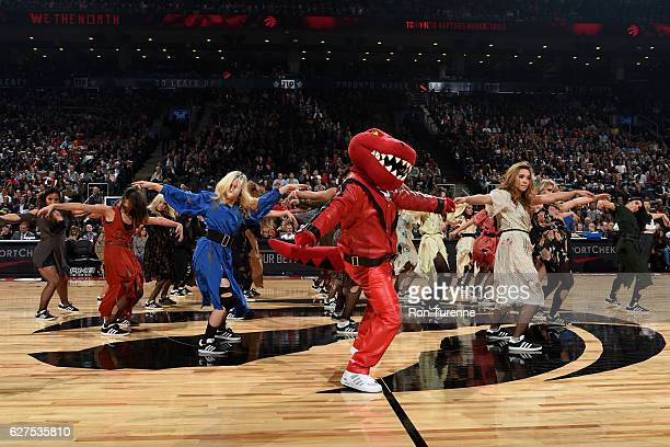 Toronto Raptors dancers perform their routine during the game against the Denver Nuggets on October 31 2016 at the Air Canada Centre in Toronto...