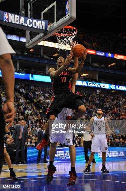 Toronto Raptors' DeMar DeRozan drives to the basket during the NBA match at the O2 Arena London