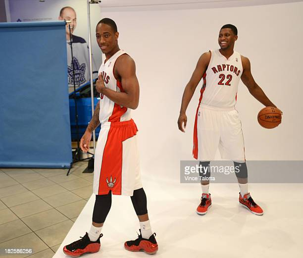 Toronto Raptors DeMar DeRozan has a little fun at Raptors Media Day at the ACC in Toronto on September 30 2013