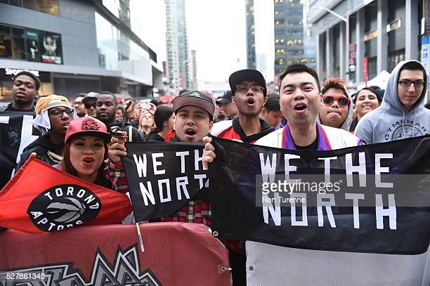 Toronto Raptors fans cheer before the Toronto Raptors face the Miami Heat for Game One of the Eastern Conference Semifinals during the 2016 NBA...