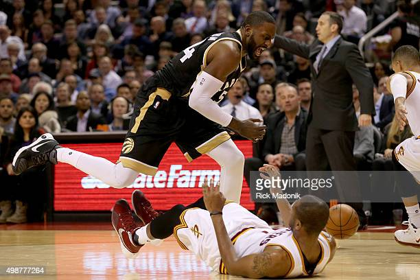 Toronto Raptors forward Patrick Patterson is called for a charge after running through the defender Toronto Raptors vs Cleveland Cavaliers in 2nd...