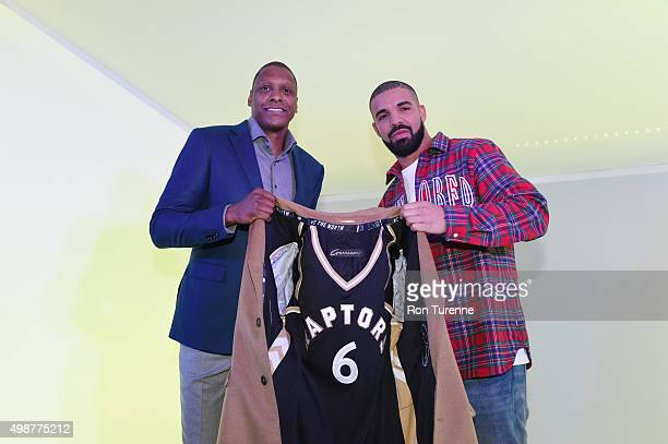 Toronto Raptors general manager Masai Ujiri and Drake before the game between the Toronto Raptors and the Cleveland Cavaliers on November 25 2015 at...
