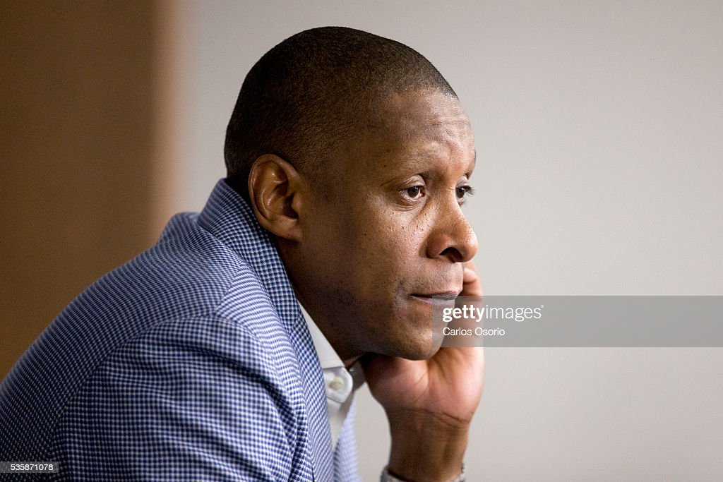 TORONTO, ON - MAY 30 - Toronto Raptors General manager Masai Ujiri has a season ending press conference at the Biosteel Centre in Toronto on May 30, 2016.
