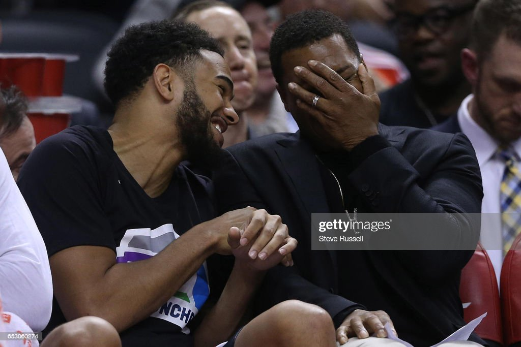 TORONTO, ON- MARCH 13 - Toronto Raptors guard Cory Joseph (6) and Kyle Lowry laugh on the bench as the Toronto Raptors beat the Dallas Mavericks 100-78 at the Air Canada Centre in Toronto. March 13, 2017.
