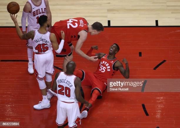 TORONTO ON OCTOBER 19 Toronto Raptors guard Delon Wright celebrates after hitting a basket and getting awarded a foul shot as the Toronto Raptors...