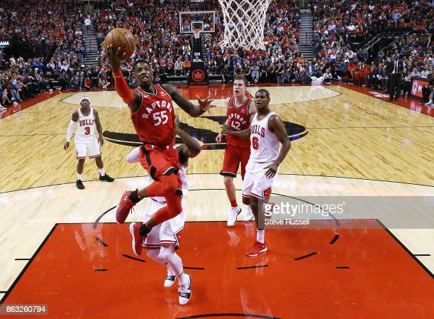 TORONTO ON OCTOBER 19 Toronto Raptors guard Delon Wright goes up for a lay up as the Toronto Raptors open their season against the Chicago Bulls at...