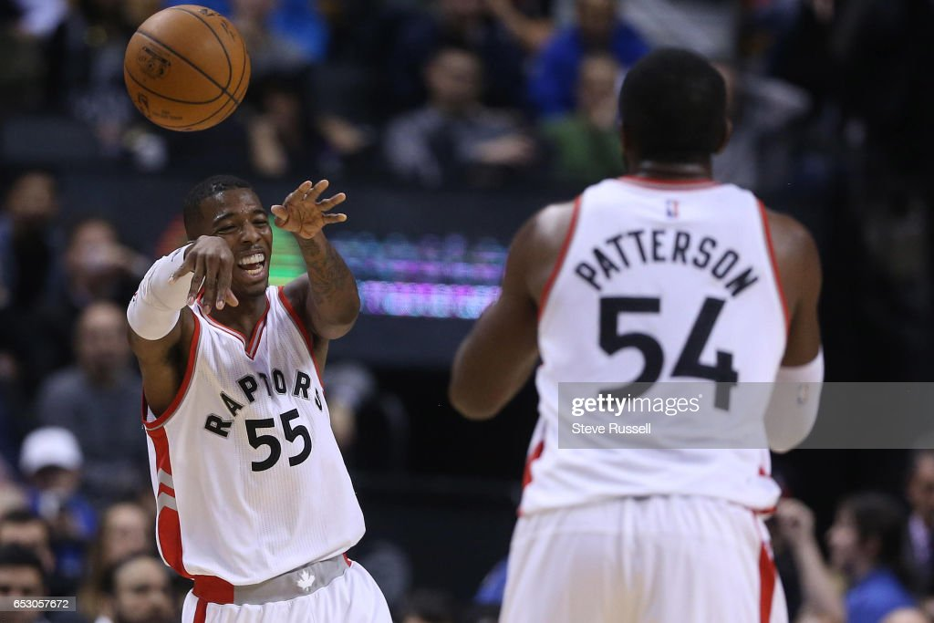 TORONTO, ON- MARCH 13 - Toronto Raptors guard Delon Wright (55) passes the ball to Patrick Patterson as the Toronto Raptors beat the Dallas Mavericks 100-78 at the Air Canada Centre in Toronto. March 13, 2017.