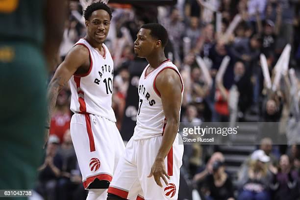 TORONTO ON JANUARY 5 Toronto Raptors guard DeMar DeRozan and Kyle Lowry celebrate a clutch basket as the Toronto Raptors beat the Utah Jazz 10193 at...