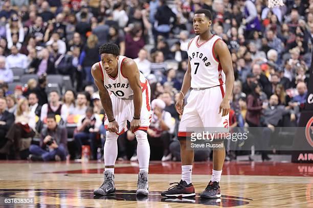 TORONTO ON JANUARY 13 Toronto Raptors guard DeMar DeRozan and Toronto Raptors guard Kyle Lowry as the Toronto Raptors beat the Brooklyn Nets 132113...