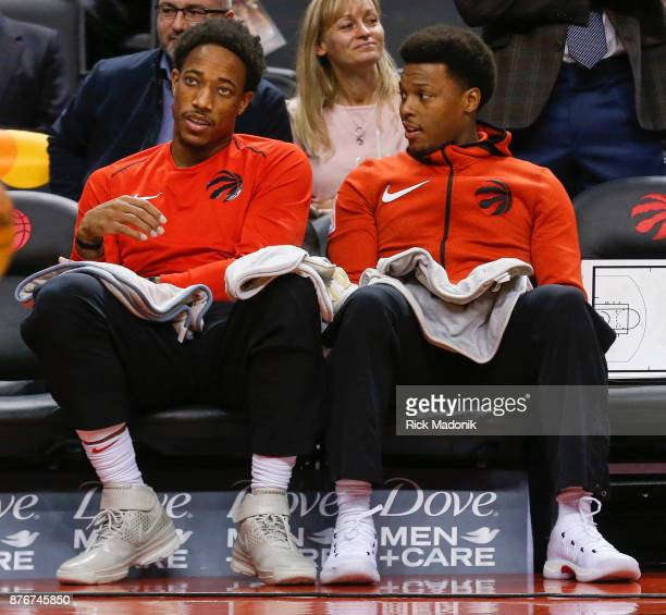 Toronto Raptors guard DeMar DeRozan and Toronto Raptors guard Kyle Lowry on the bench before the game start Toronto Raptors vs New York Knicks in 1st...