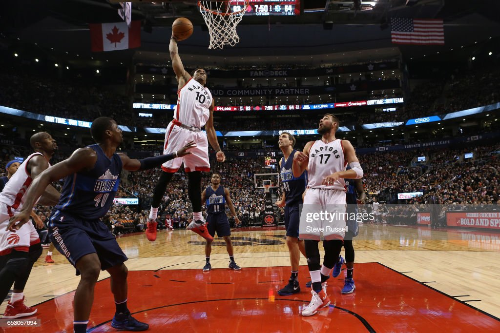 TORONTO, ON- MARCH 13 - Toronto Raptors guard DeMar DeRozan (10) flies to the hoop for a monster dunk as the Toronto Raptors beat the Dallas Mavericks 100-78 at the Air Canada Centre in Toronto. March 13, 2017.