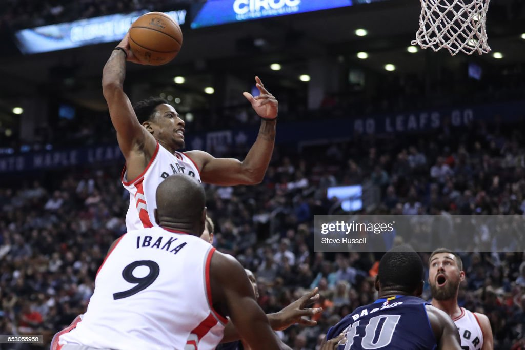 TORONTO, ON- MARCH 13 - Toronto Raptors guard DeMar DeRozan (10) goes up for a monster dunk as the Toronto Raptors beat the Dallas Mavericks 100-78 at the Air Canada Centre in Toronto. March 13, 2017.