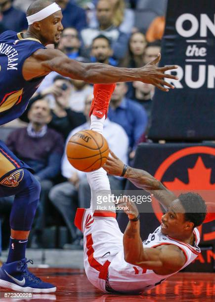 Toronto Raptors guard DeMar DeRozan hits the floor but passes out to Kyle Lowry who knocks down a 3 pointer Toronto Raptors vs New Orleans Pelicans...