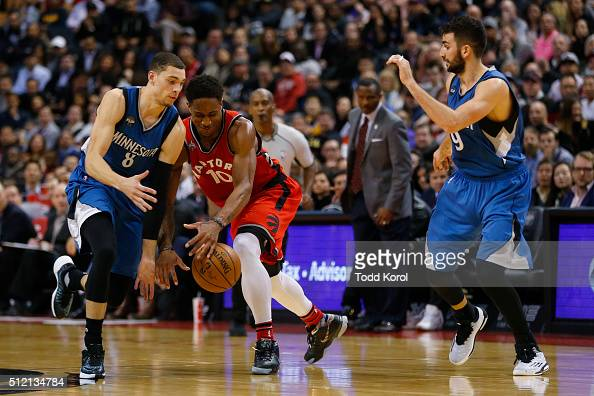 Toronto Raptors guard DeMar DeRozan loses the ball to Minnesota Timberwolves guard Zach LaVine and guard Ricky Rubio in the second half of their NBA...
