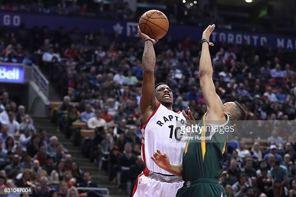 TORONTO ON JANUARY 5 Toronto Raptors guard DeMar DeRozan puts up a shot as the Toronto Raptors beat the Utah Jazz 10193 at Air Canada Centre in...