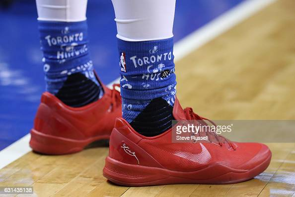 TORONTO ON JANUARY 10 Toronto Raptors guard DeMar DeRozan scored 10 in the first half with red shoes on and came out for the second half with...