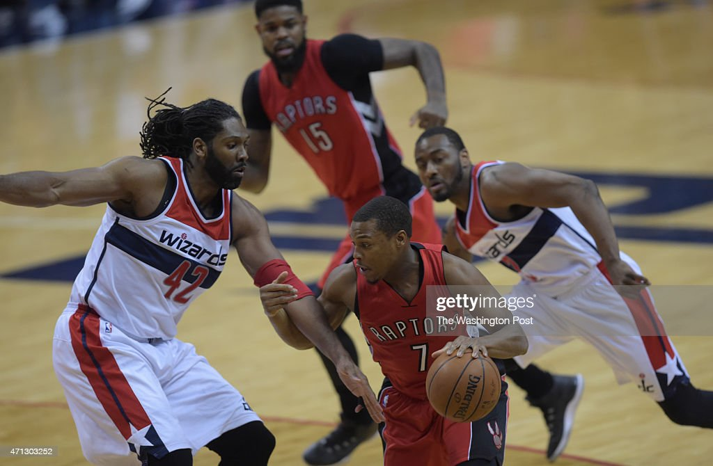 Toronto Raptors guard <a gi-track='captionPersonalityLinkClicked' href=/galleries/search?phrase=Kyle+Lowry&family=editorial&specificpeople=714625 ng-click='$event.stopPropagation()'>Kyle Lowry</a> (7) drives against Washington Wizards forward <a gi-track='captionPersonalityLinkClicked' href=/galleries/search?phrase=Nene+Hilario+-+Basketball+Player&family=editorial&specificpeople=4250456 ng-click='$event.stopPropagation()'>Nene Hilario</a> (42) during the first half of Game 4 of the Eastern Conference Quarterfinals between the Washington Wizards and the Toronto Raptors at the Verizon Center on Sunday, April 26, 2015.