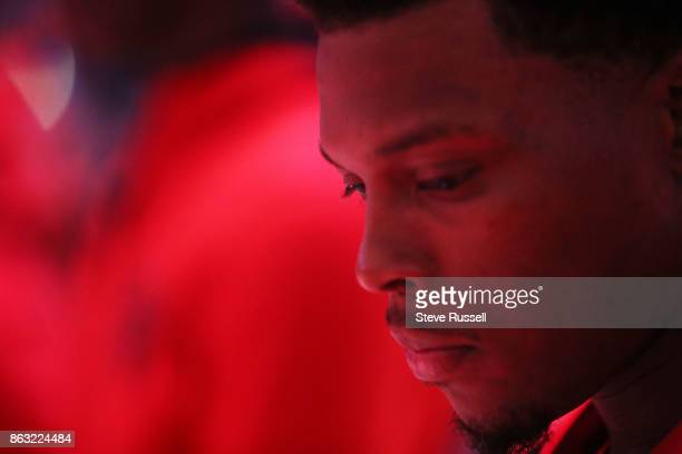 TORONTO ON OCTOBER 19 Toronto Raptors guard Kyle Lowry during national anthems as the Toronto Raptors open their season against the Chicago Bulls at...