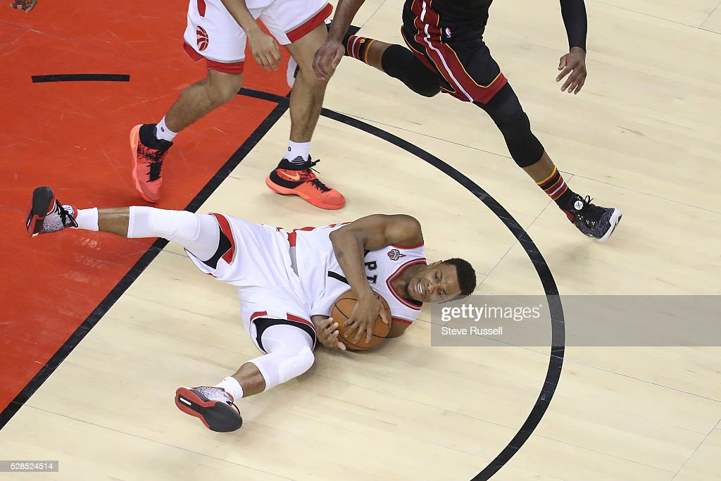 Toronto Raptors guard Kyle Lowry falls to the floor after stealing the ball as the Toronto Raptors play the Miami Heat in game two of their Eastern Conference Semifinal at the Air Canada Centre in Toronto. May 5, 2016.