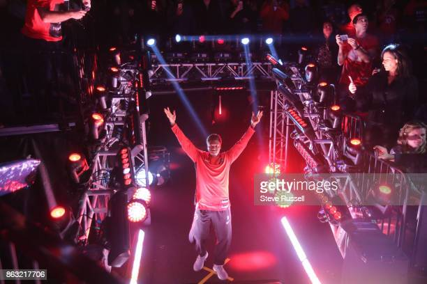 TORONTO ON OCTOBER 19 Toronto Raptors guard Kyle Lowry is introduced as the Toronto Raptors open their season against the Chicago Bulls at the Air...