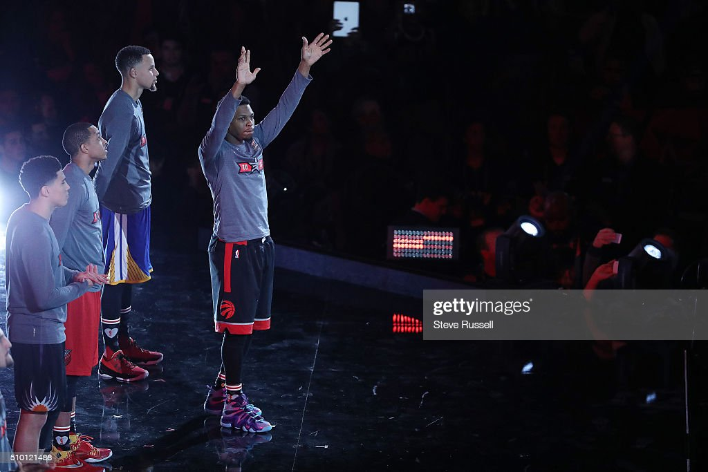 Toronto Raptors guard Kyle Lowry is introduced during the NBA's All-Star Saturday Night. Where players compete in three events, the Skills Challenge, 3-point shooting and Slam Dunk at the in Toronto. February 13, 2016.