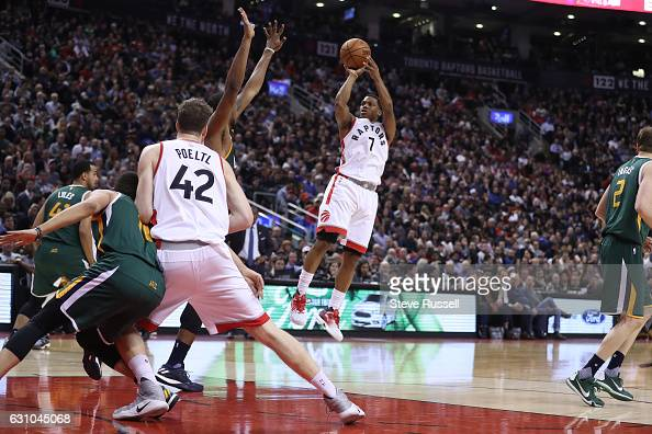 TORONTO ON JANUARY 5 Toronto Raptors guard Kyle Lowry puts up a shot as the Toronto Raptors beat the Utah Jazz 10193 at Air Canada Centre in Toronto...