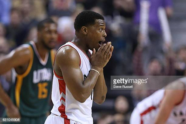 TORONTO ON JANUARY 5 Toronto Raptors guard Kyle Lowry reacts after a Raptor was called for a foul as the Toronto Raptors beat the Utah Jazz 10193 at...