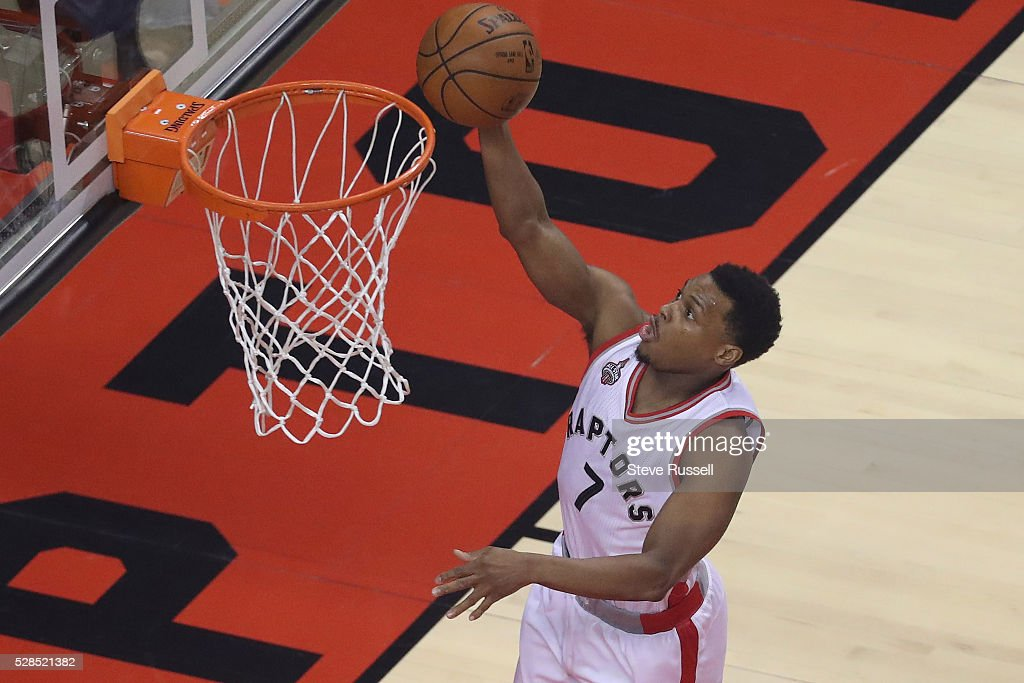 Toronto Raptors guard Kyle Lowry scores as the Toronto Raptors play the Miami Heat in game two of their Eastern Conference Semifinal at the Air Canada Centre in Toronto. May 5, 2016.