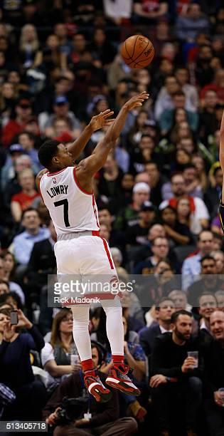 Toronto Raptors guard Kyle Lowry throws up a baseline shot Toronto Raptors vs Utah Jazz in 2nd half action of NBA regular season play at Air Canada...