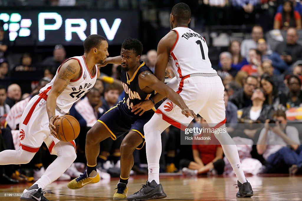 Toronto Raptors guard Norman Powell moves the ball as Toronto Raptors forward Jason Thompson sets a pick on Indiana Pacers forward Solomon Hill...