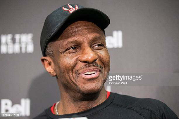 Toronto Raptors' head coach Dwane Casey talks to the media ahead of their first game against Washington Wizards