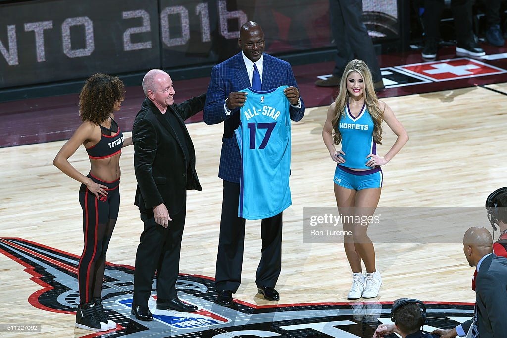 Toronto Raptors Owner <a gi-track='captionPersonalityLinkClicked' href=/galleries/search?phrase=Larry+Tanenbaum&family=editorial&specificpeople=695587 ng-click='$event.stopPropagation()'>Larry Tanenbaum</a> presents NBA Legend <a gi-track='captionPersonalityLinkClicked' href=/galleries/search?phrase=Michael+Jordan+-+Basketball+Player&family=editorial&specificpeople=73625 ng-click='$event.stopPropagation()'>Michael Jordan</a> with a jersey before the 2016 NBA All-Star Game on February 14, 2016 at the Air Canada Centre in Toronto, Ontario, Canada.