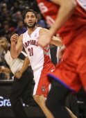 TORONTO ON DECEMBER 13 Toronto Raptors point guard Greivis Vasquez gets into his first game as a Raptor as the Philadelphia 76ers take on theToronto...