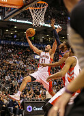 TORONTO ON FEBRUARY 27 Toronto Raptors point guard Greivis Vasquez goes up to the hoop for two points during the game between the Toronto Raptors and...