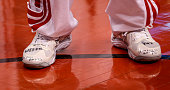 TORONTO ON FEBRUARY 27 Toronto Raptors point guard Greivis Vasquez writes messages on the shoes he wore during the game between the Toronto Raptors...