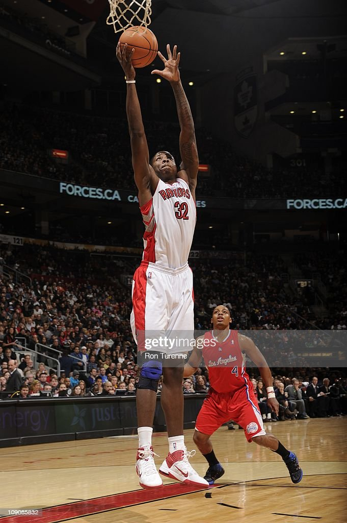 Toronto Raptors power forward Ed Davis #32 goes to the basket during the game against the Los Angeles Clippers on February 13, 2011 at the Air Canada Centre in Toronto, Ontario, Canada. The Raptors won 98-93.