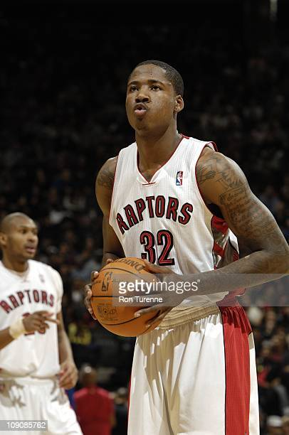 Toronto Raptors power forward Ed Davis prepares for a free throw during the game against the Los Angeles Clippers on February 13 2011 at the Air...