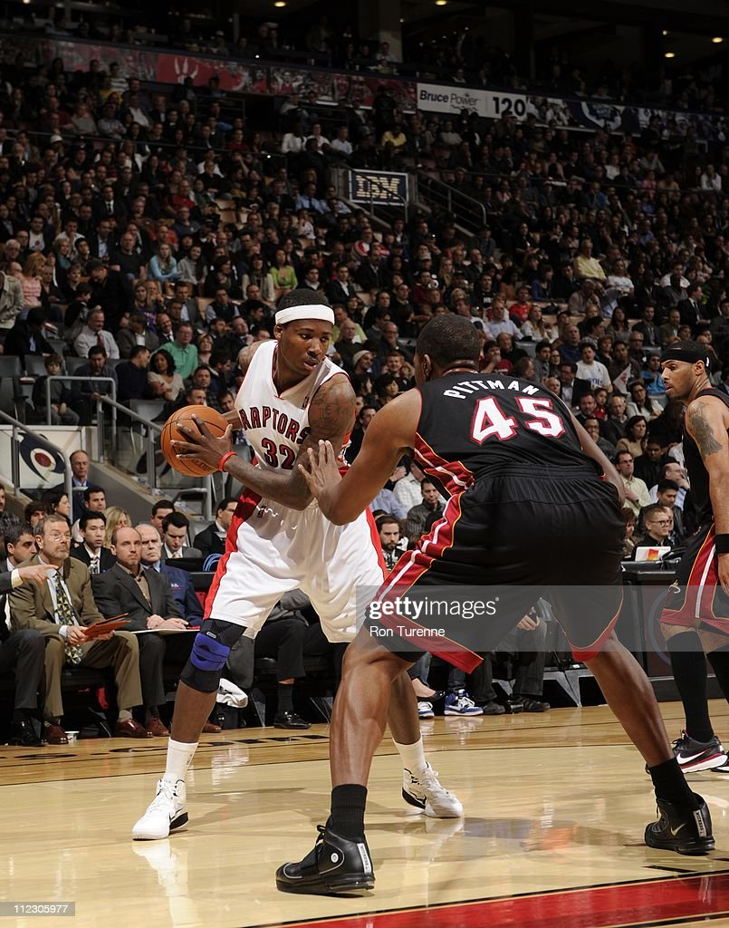 Toronto Raptors power forward Ed Davis #32 protects the ball during the game against the Miami Heat on April 13, 2011 at the Air Canada Centre in Toronto, Ontario, Canada. The Heat won 97-79.