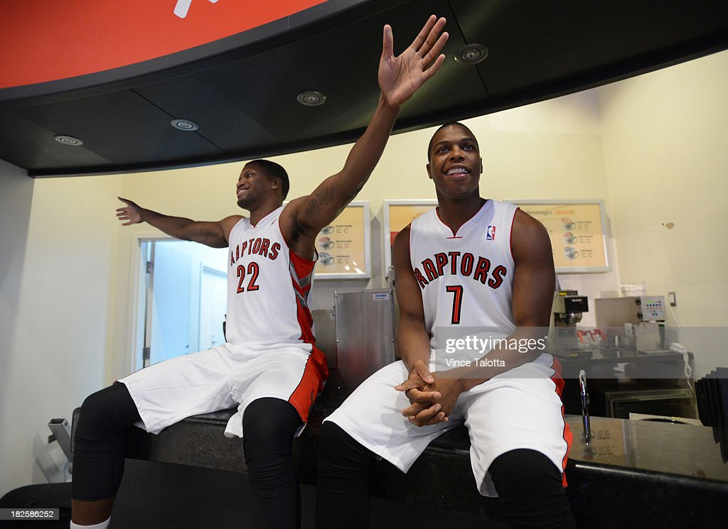 Toronto Raptors Rudy Gay and Kyle Lowry have a little fun at Raptors Media Day at the ACC in Toronto on September 30, 2013.