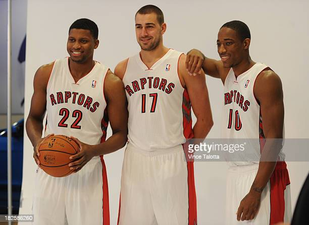 Toronto Raptors Rudy Gay Jonas Valanciunas and DeMar DeRozan pose for a picture at Raptors Media Day at the ACC in Toronto on September 30 2013