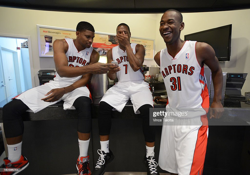 Toronto Raptors Rudy Gay, Kyle Lowry and Terrannce Ross (left to right) have a little fun at Raptors Media Day at the ACC in Toronto on September 30, 2013.
