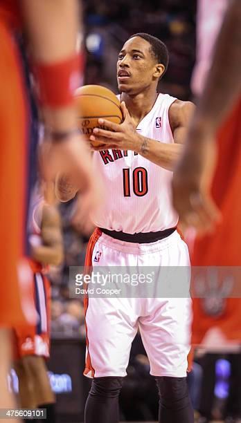 TORONTO ON FEBRUARY 27 Toronto Raptors shooting guard DeMar DeRozan at the line during the game between the Toronto Raptors and the Washington...